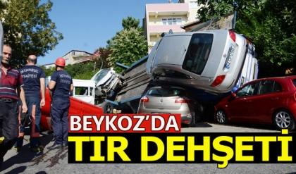 Beykoz'da araç taşıyan TIR dehşet saçtı