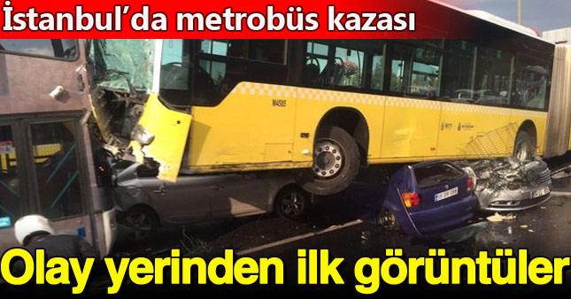 Yoldan çıkan metrobüs otomobilleri altına aldı