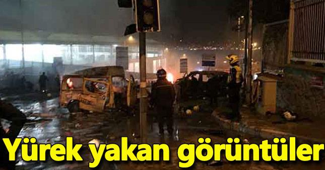 Beşiktaş'taki patlamada olay yerinden ilk görüntüler