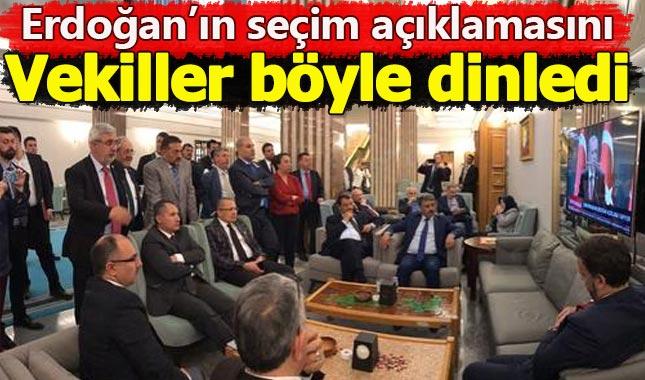 Cumhurbaşkanı Erdoğan'ın seçim açıklamasını milletvekilleri böyle dinledi A24