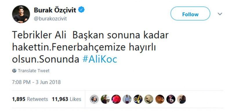 Fenerbahçe'nin yeni başkanı Ali Koç'a ünlülerden tebrik mesajı yağdı A24